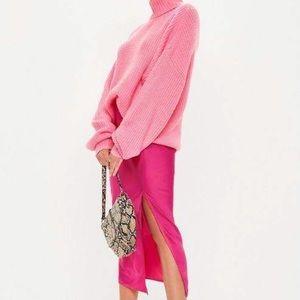 Missguided Pink Satin Slip Midi Skirt NWT